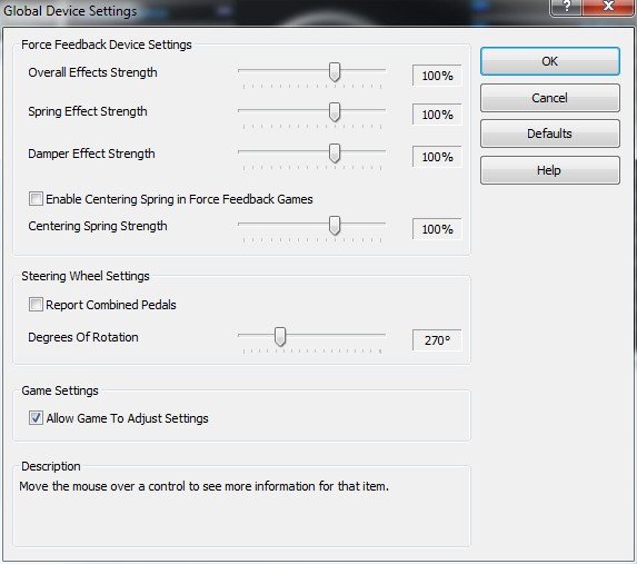 Project Cars  Wheel Settings